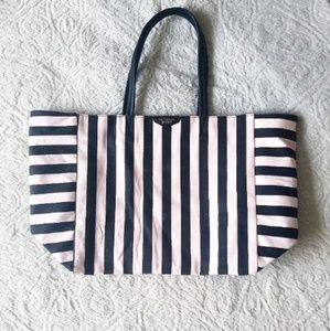 Victoria's Secret Pink and Black Striped Tote Bag